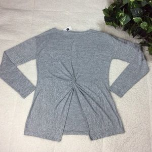 Gap Gray Open V-Back Long Sleeve Women's Top Sz L